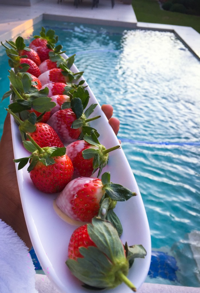 Mobile spa; Strawberry treat; Strawberries and Pool; Swimming; Home Spa; Strawberries and White chocolate
