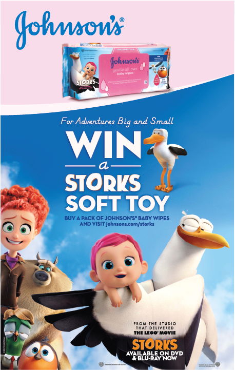 Johnsons; storks; gentle all over wipes